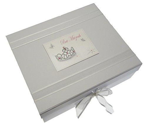 white cotton cards Bat Mitzvah Keepsake Box Jewish Gift (Large, Girls)