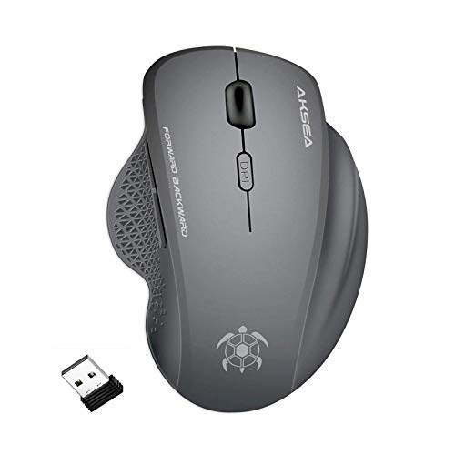 AKSEA Mouse Wireless 1600DPI, Mouse Senza Fili 2.4G con Ricevitore Nano, Ergonomico, 6 Pulsanti, Compatibile con Windows 10/8/7/XP/Vista, PC/Mac/Laptop(Grigio)