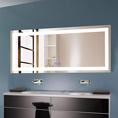 Decoraport 70 x 32 in Dimmable LED Bathroom Mirror with Anti-Fog and -