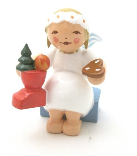 Hand Painted Margarite Angel with Santa Boot and Gingerbread
