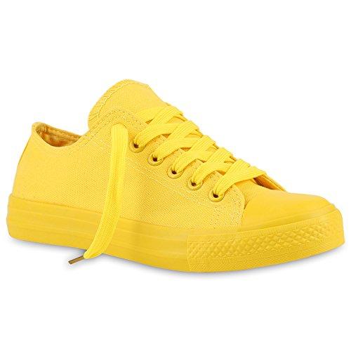 stiefelparadies Damen Sneakers Stoffschuhe Sportschuhe Freizeit Schnürer 139942 Gelb Gelb 39 Flandell