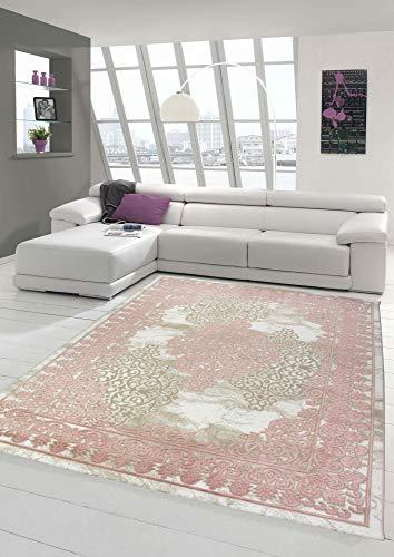 Merinos Alfombra Moderna con Adornos Vintage en Crema Rosa Beige Größe 160x230 cm