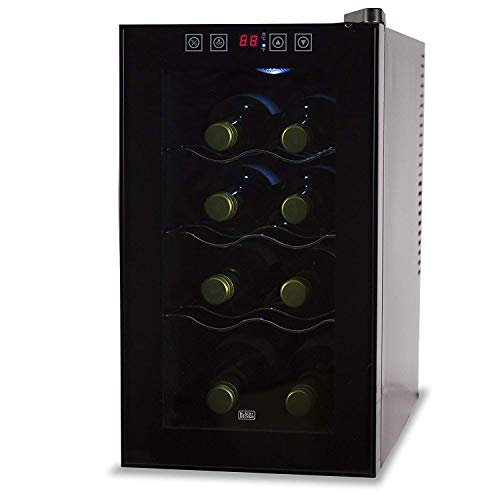 8 Bottle Capacity Thermoelectric Wine Cellar - Electronic Touch Controls & LED Display - Black Cabinet with UV Glass Door & Interior Light by BLACK+DECKER - BWT08THSB