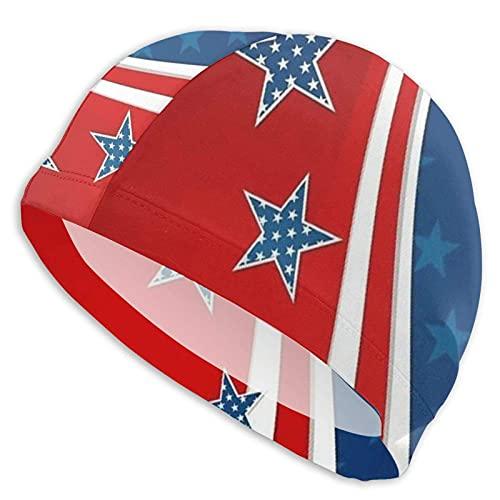 Cuffia Nuoto Bandiera Americana dai Colori Vivaci Cuffia Piscina Poliestere Donna e Uomo Ideale per Lunghi, Capelli Ricci, Dread, Afro