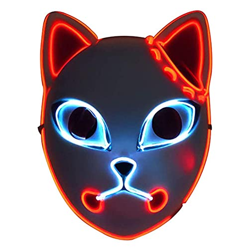 QQDS Máscara De Halloween Demon Slayer Fox Cat Máscara con Luz LED Encima De Máscaras De Cosplay Luminoso Halloween Japonés Anime Figura Mascarilla Play Play Headwear