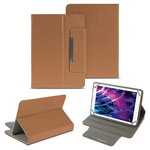 NAUC Medion Lifetab E6912 Tablet Schutzhülle Universal Tablettasche hochwertiges Kunstleder Tasche Hülle Standfunktion Cover Case, Farben:Braun