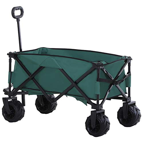 Outsunny Outdoor Pull Along Cart Folding Cargo Wagon Trailer Trolley for...