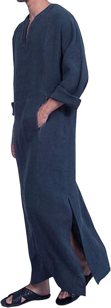 Men's Long Sleeve Cotton Linen Middle East Muslim Arab Caftan 3