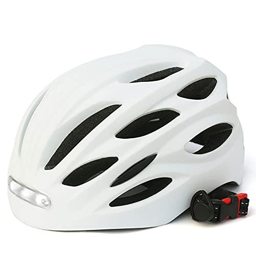 ZHXQ Casco de Bicicleta con luz de Seguridad USB Recargable LED,Casco Ligero,Casco de Bicicleta Ligero Ajustable Casco de Bicicleta de Carretera Unisex 54-57cm/58-60cm