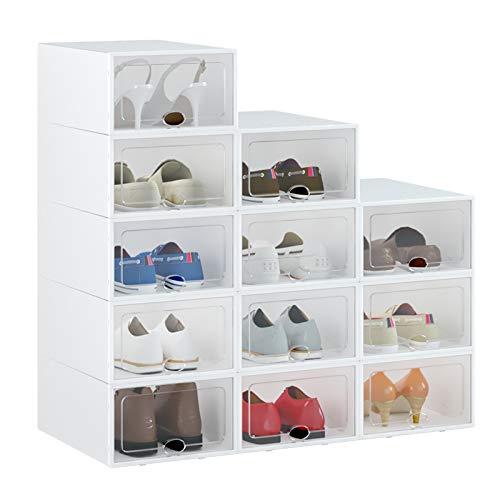 HOMIDEC 12er Set Schuhkarton mit Tür, Stapelbarer Schuhaufbewahrungsbox, Tragbar Schuh Organizer, Zusammenklappbar Schuhboxen für Frauen Männer