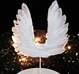 FANTASIEN Angel Wing Cake Topper Decoration With LED Light For Anniversary, Birthday Party & Wedding