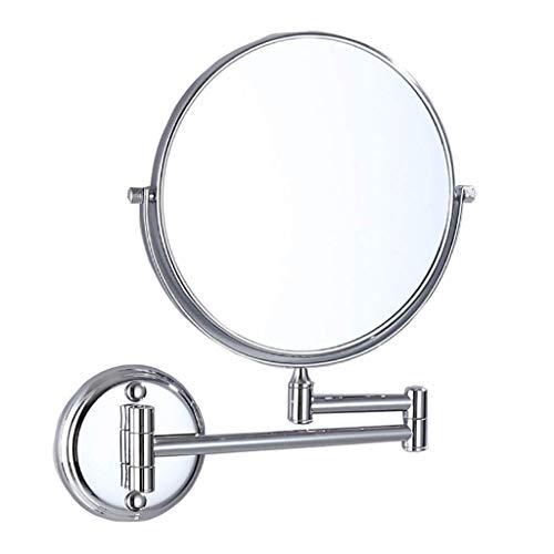 Miroir cosmétique Miroir de maquillage mural miroir de maquillage 3X grossissant, miroir pivotant double face pivotant à 360 ° for beauté (Color : Silver, Size : 6 inch)