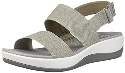 CLARKS Women's Arla Jacory Wedge Sandal, Sand, 6 M US