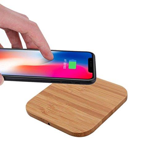 Mamum Chargeur sans fil Qi pour iPhone 8/8 Plus/X d'Apple En bois Taille unique C