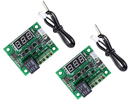 TECNOIOT 2pcs W1209 Digital Cool Heat Temp Thermostat Thermometer Temperature Control DC12V