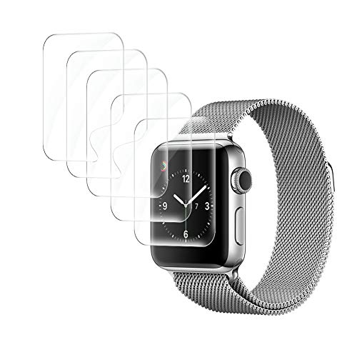 UniqueMe [6 Pack] Protector de Pantalla para Apple Watch 38mm Series 1/2 / 3, [Fácil instalación] [Sin Burbuja] Fácil instalación HD Soft Claro Suave Caso Amistoso Anti-Scratch para Apple Watch 38mm