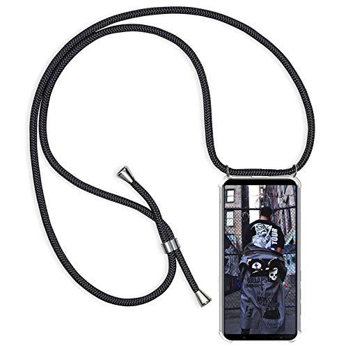 Funda con Cuerda para Xiaomi Redmi Note 10 4G / Note 10s Silicona Transparente, Ultrafina Suave TPU Carcasa de movil con Colgante [Moda y Practico] [Anti-rasguños Anti-Choque] - Negro