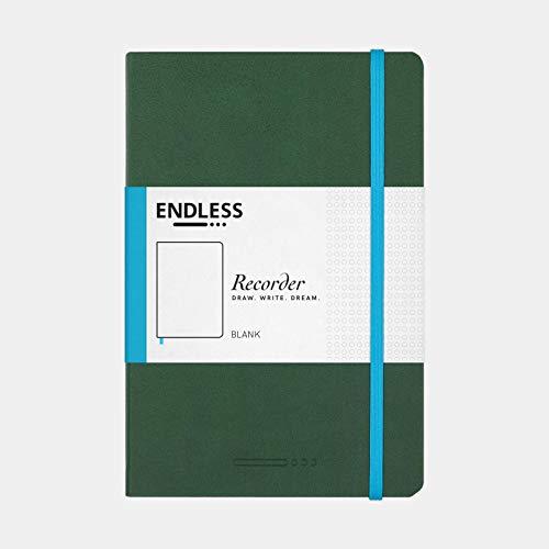 Endless Blockflötenheft mit Tomoe River 68 g/m² Papier (blanko, grün, 192 Seiten)