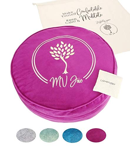 MV Joie Zafu Yoga Meditation Cushion Filled with Buckwheat Hulls & Charcoal Packages | Soft Velvet Yoga Pillow; Embroidery Design, Free Lavender Pouch & Anti-dust Cotton Bag (Violet Purple,13