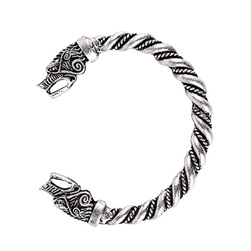 Viking Wolf Bracelet Fenrir Wolf Bracelet Bangle Twisted Wire Pagan Bracelet Bag Package (antique silver)