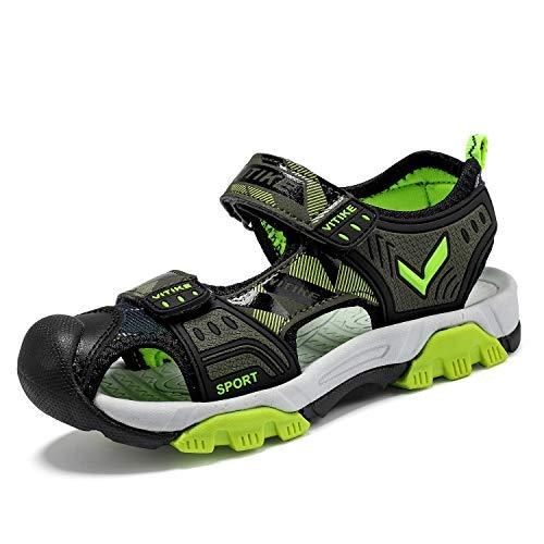 Sandalias para niños, zapatos de verano, para exteriores, deporte, para la playa, para la playa, para trekking, senderismo, color Verde, talla 35 EU