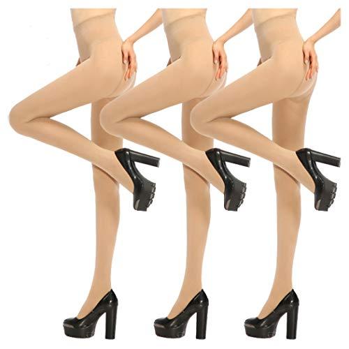 Women Tight,Ladies Tights,Womens Opaque Pantyhose Lady Black Leggings, 3 Pairs, Nude, OSFM