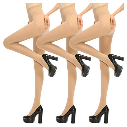 Women Tight,Ladies Tights,Womens Opaque Pantyhose Lady Black Leggings, 3 Pairs, Nude, OSFM