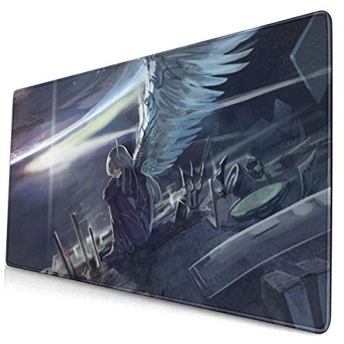 Anime Girl Sitting and Spreading Wings Large Gaming Mouse Pad Desk Mat Long Non-Slip Rubber Stitched Edges (15.8x29.5 In)