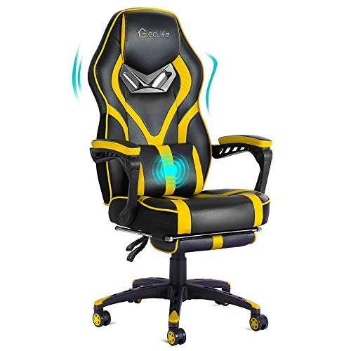 Video Gaming Chair Racing Recliner with Massage Function- Ergonomic Adjustable Padded Armrest Swivel High Back Footrest with Headrest Lumbar Support Leather Breathable Bucket Seat Home Office Desk…