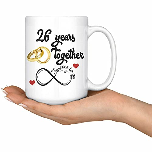 26th Wedding Anniversary Gift For Him And Her Married For 26 Years 11oz mug