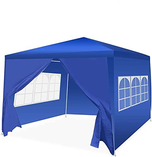 Qdreclod Pavillon 3x4m Wasserdicht, Faltpavillon mit Seitenteile, Draussen Partyzelt Gartenpavillon Event Shelter Strandüberdachung Festzelt - Abnehmbare Seiten, Transparente Fenster (Blau, 3x4m)