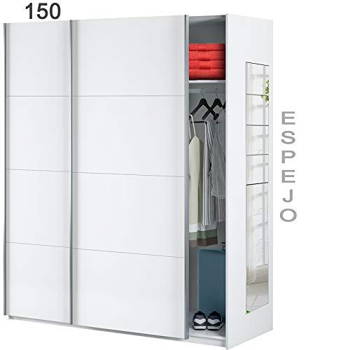 HABITMOBEL Armario para Bebé con estantes de 150 con Espejos, Medidas Armario: 150 cm (Ancho) x 204 cm (Alto) x 65 cm (Fondo)