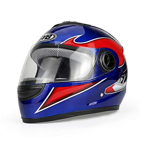 ZWL Moto Casque Voiture électrique Anti-buée Casque Casque intégral La tête Protection Tour tête (55-59cm),Blue