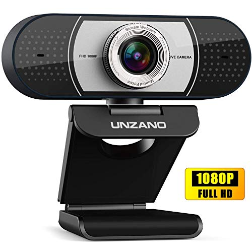 Unzano Webcam with Microphone for Desktop, Full HD 1080p USB Computer Web Camera for Mac PC Laptop, Video Calling Recording Conferencing and Streaming, Skype/YouTube/Zoom/Facetime