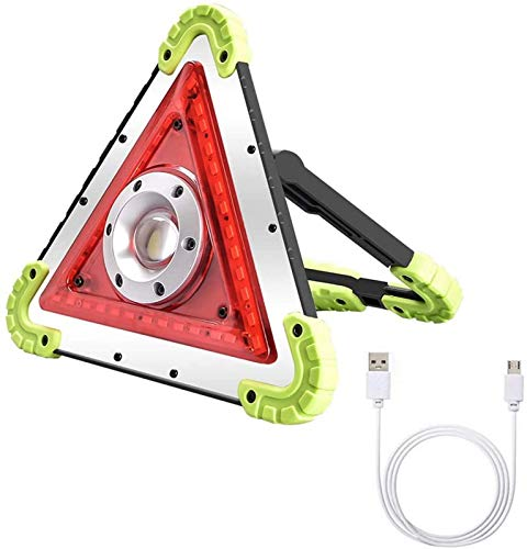 GANE Multi-Function COB LED Flood Light, 50W Portable Rechargeable Working Light with USB Port, 1500lm Triangle Warning Light, IPX4 Waterproof Emergency Lighting