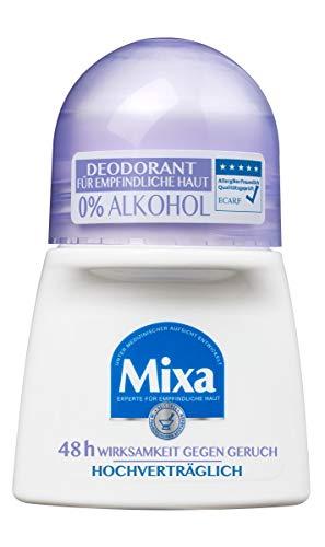 Mixa 0% Aluminium Salze Deodorant Roll-on, für empfindliche Haut, hochverträglich, bis zu 48 h Wirksamkeit, ohne Alkohol, 1er Pack (1 x 50 ml)