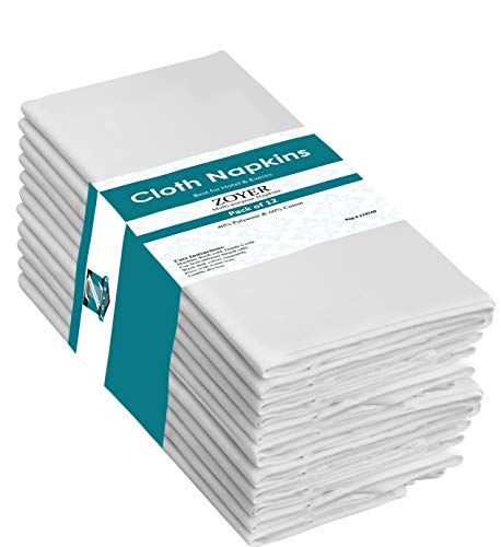 Zoyer Cotton Dinner Napkins - 12 Pack (18x18 Inch) Soft Restaurant Napkins Durable Hotel Quality Ideal for Events - White