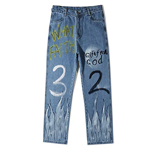 YJDMJJ Herren Cargo Jogginghose Graffiti Fire Flame Print Lässige Baggy Denim Jeans Hip Hop Hipster Streetwear Hosen Herren Mode Punk Rock Hose Joggerhose