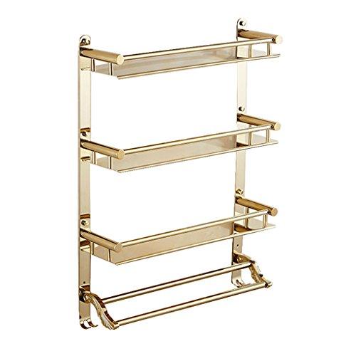 Uus Edelstahl geschnitztes Badezimmer-Regal, hängender Duschkorb mit Haken Wand-hängender Duschehandtuch-Zahnstange Gold 3 Schichten Shelf (größe : 40cm)