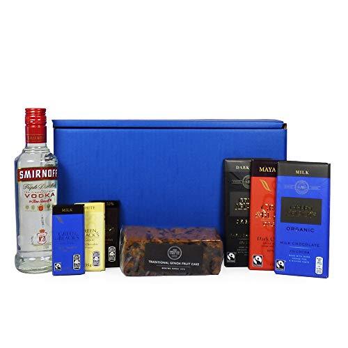 Kit de supervivencia de vodka y chocolate Smirnoff - Cesto de regalo azul con 350ml Vodka Smirnoff,...