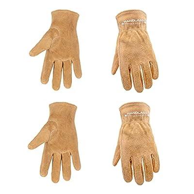 Kids Leather Work Gloves, 2 Pairs Kids Gardening Gloves, Children Cowhide Garden Gloves for Age 2-9 Girls Boys (Large (Age 7-9), Brown)