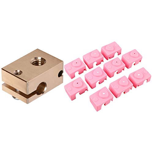 Nrpfell for -V6 High Temperature Aluminum Block PT100 Silicone Case Pink 10PCS with Copper Brass Heater Block