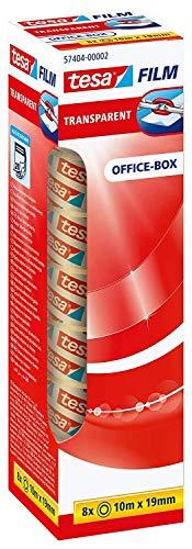 tesafilm transparent - Transparentes Klebeband mit starker Haftung - alterungsbeständig und reißfest - 10 m x 19 mm - 8er Pack