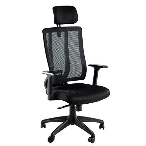 Silla ergonómica de oficina con respaldo alto para tareas de apoyo de malla lumbar, silla de escritorio, multifunción, giratoria ejecutiva con reposacabezas y brazos, color negro