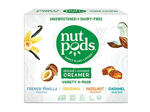 nutpods Variety 4 pack, Original, French Vanilla, Hazelnut and Caramel Unsweetened Dairy-Free