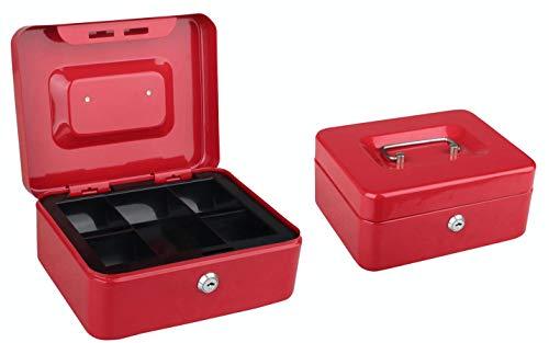 Tech Traders TTCB - Cassetta portavalori in metallo con vassoio per banconote, 20 cm, 2 chiavi