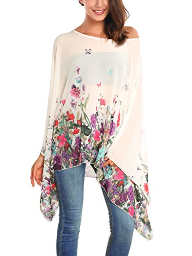 DJT Damen Rundhals Batwing Chiffon Loose Fit Tuell Bluse Apricot-Blumen One Size