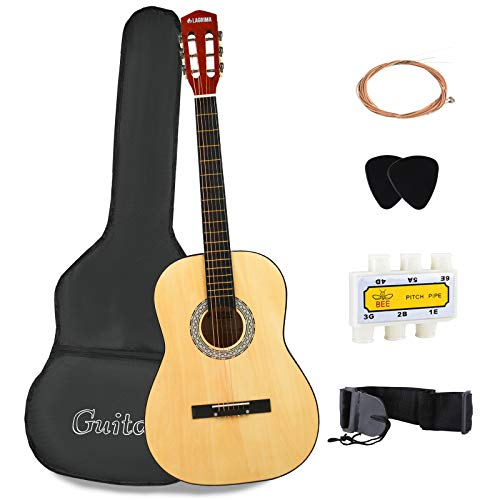 LAGRIMA Acoustic Guitar with Guitar Case, Strap, Tuner, Capo & Pick Steel Strings for beginners/adults/kids (38' Natural)