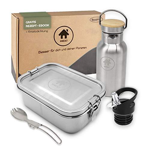 homeAct Edelstahl Eco Lunchbox Flaschen Set mit Faltgoeffel | Brotdose, Brotbox 800ml mit Trennwand | Bento Box für Kinder mit 350ml Thermosflasche | auslaufsicher, nachhaltig