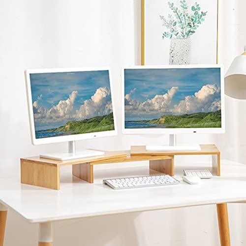 SUNDAY HOME Bamboo Monitor Riser Significa 3 monitores, Escritorio Estante de computadora Riser Ajustable Hight & Angle, Soporte de Teclado para Escritorio (Color : Natural)